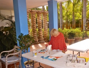 Here is Magrit Mondavi painting with watercolors during a beautiful day in her presence.  Magrit is know for bringing sophisticaiton to the wineries in Napa Valley with her husband Robert Mondavi /Winery. Beautiful woman!
